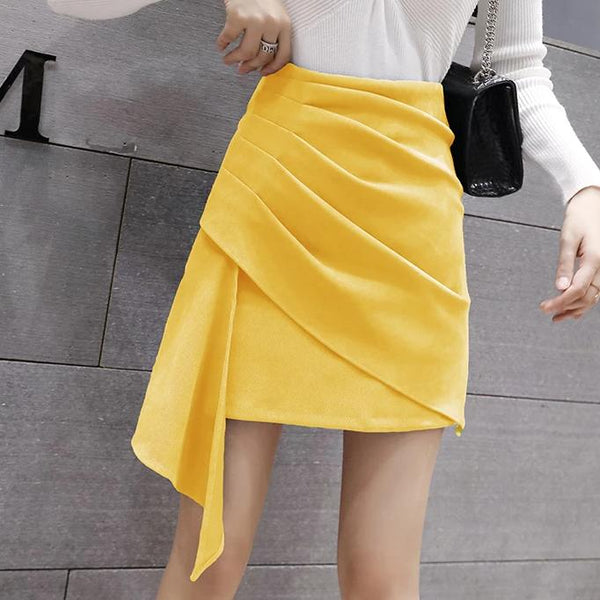 (Pre-Order) Side Asymmetrical High Waist Skirt in Yellow