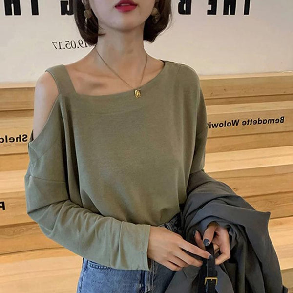(Pre-Order) Single Cold Shoulder Long Sleeve Top in Green