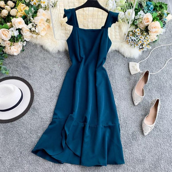 (Pre-Order) Ruffles Square Collar Sleeveless Maxi Dress in Blue