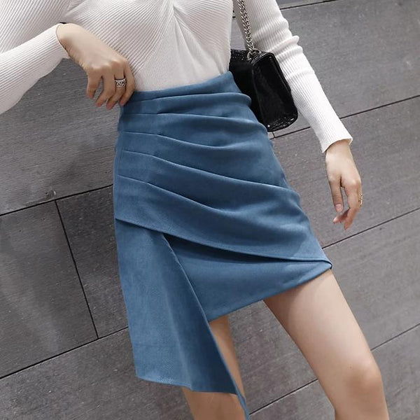 (Pre-Order) Side Asymmetrical High Waist Skirt in Blue