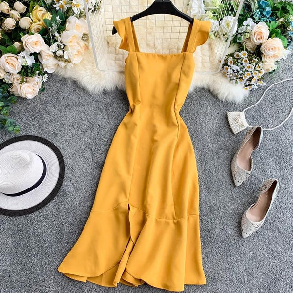 (Pre-Order) Ruffles Square Collar Sleeveless Maxi Dress in Yellow