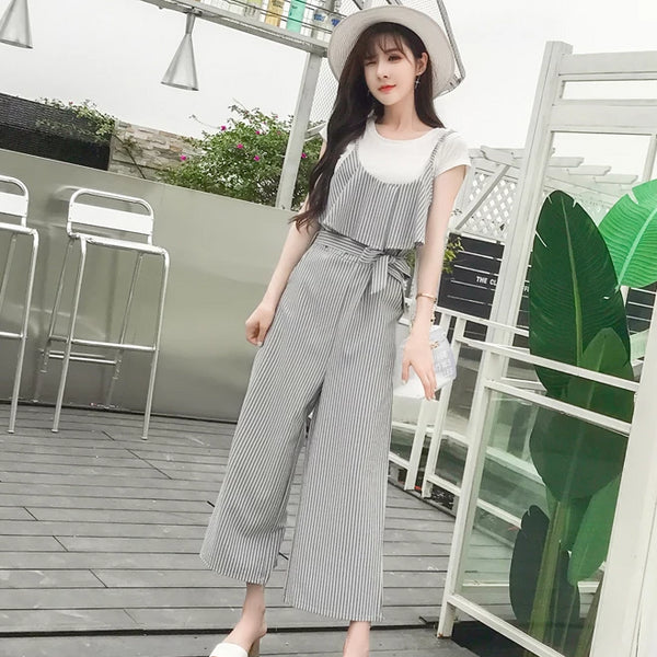 (Pre-Order) Stripes Wide Leg Culottes Jumpsuit in Grey