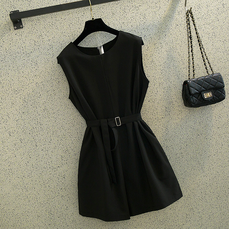 (Pre-Order) Sleeveless Wide Leg Romper in Black