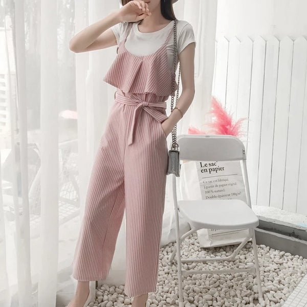 (Pre-Order) Stripes Wide Leg Culottes Jumpsuit in Pink