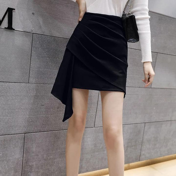 (Pre-Order) Side Asymmetrical High Waist Skirt in Black