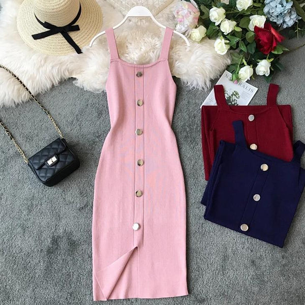 (Pre-Order) Square Collar Front Slit Buttons Bodycon Maxi Dress in Pink