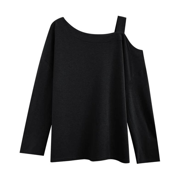 (Pre-Order) Single Cold Shoulder Long Sleeve Top in Black