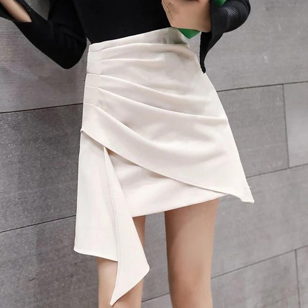 (Pre-Order) Side Asymmetrical High Waist Skirt in Beige