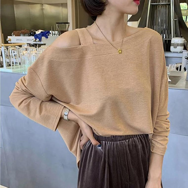 (Pre-Order) Single Cold Shoulder Long Sleeve Top in Khaki