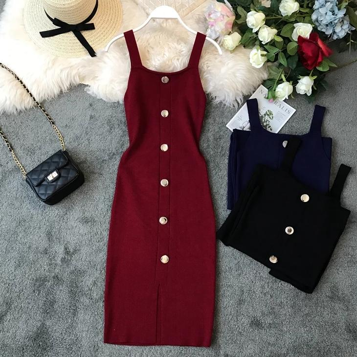 (Pre-Order) Square Collar Front Slit Buttons Bodycon Maxi Dress in Maroon