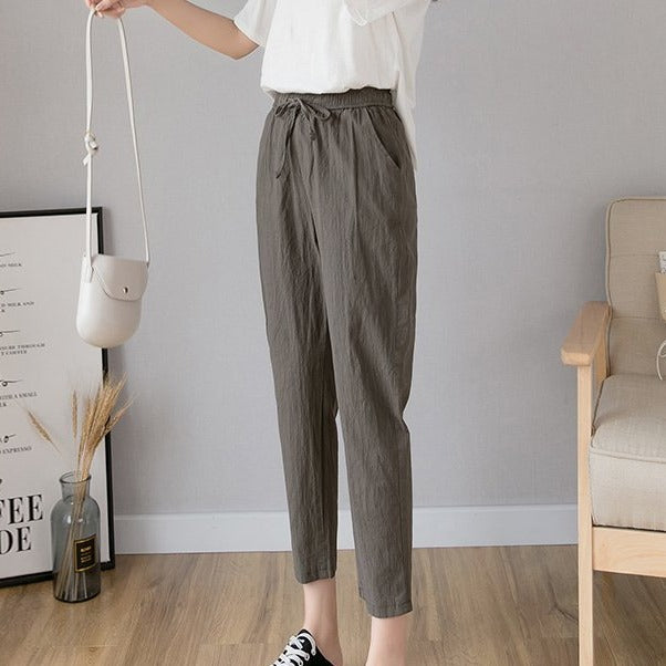 (Pre-Order) High Waist Drawstring Cropped Pants in Olive Green