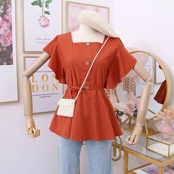 (Pre-Order) Square Ruffles Sleeve Top in Orange-Brown