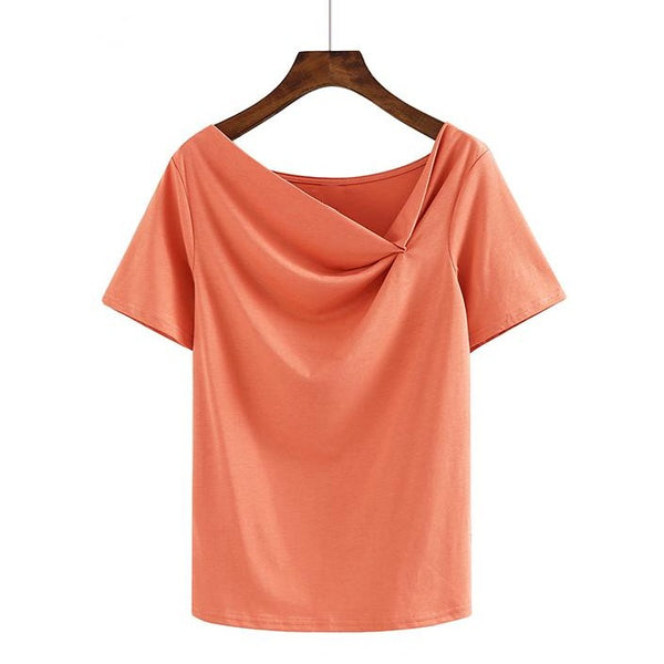 (Pre-Order) Asymmetrical Slanted Neck Top in Orange-Red