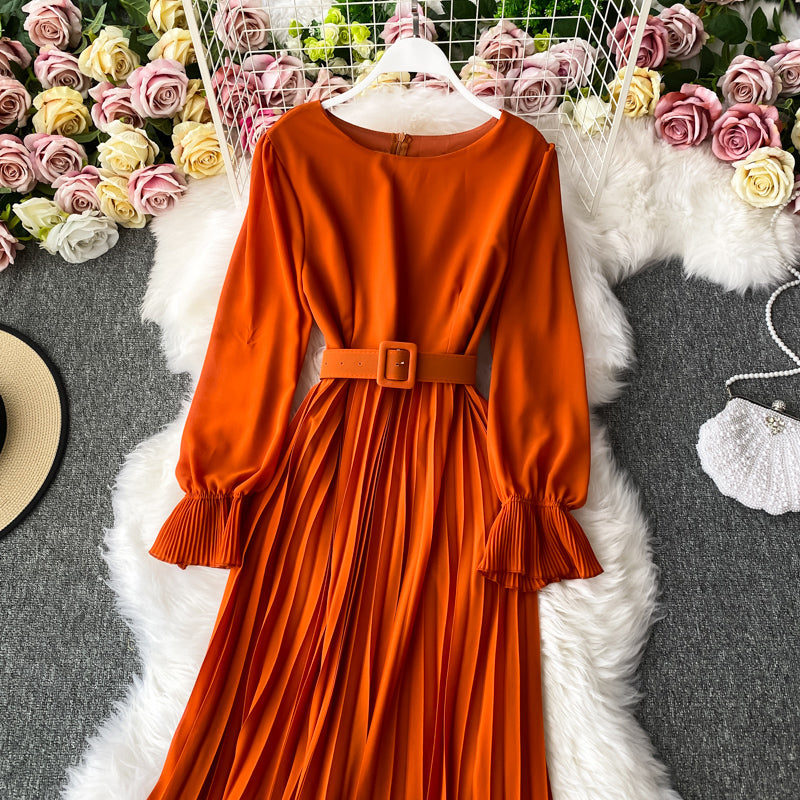 (Pre-Order) Round Neck Pleated Ruffles Long Sleeve Maxi Dress in Orange