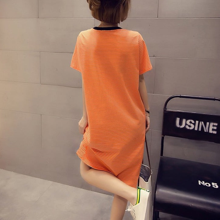 (Pre-Order) Stripes Front Pocket Side Slit Loose Fit Tee Dress in Orange
