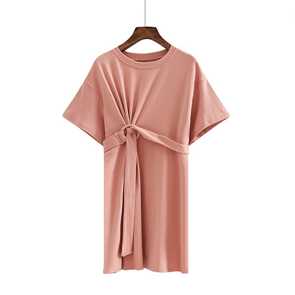(Pre-Order) Round Neck Front Loop Sleeve Tee Dress in Pink