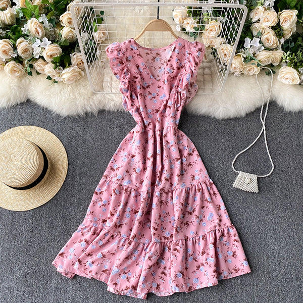 (Pre-Order) Floral V Neck Ruffles Sleeve Gypsy Midi Dress in Pink
