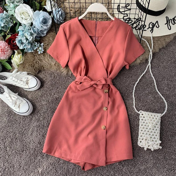 (Pre-Order) V-Neck Overlap Side Button Romper in Pink