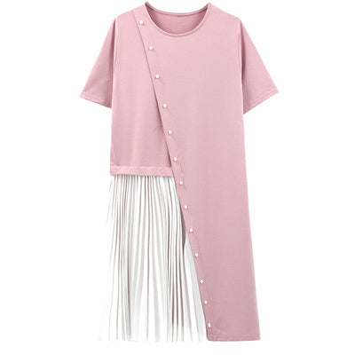 (Pre-Order) Pearl Asymmetrical Patched Pleated Loose Fit Dress in Pink