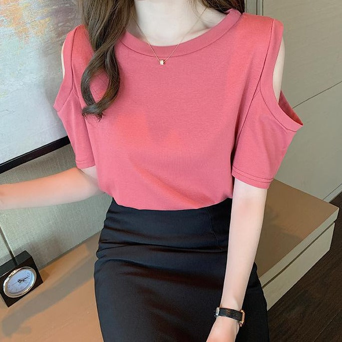 (Pre-Order) Basic Cold Shoulder Short Sleeve Top in Pink