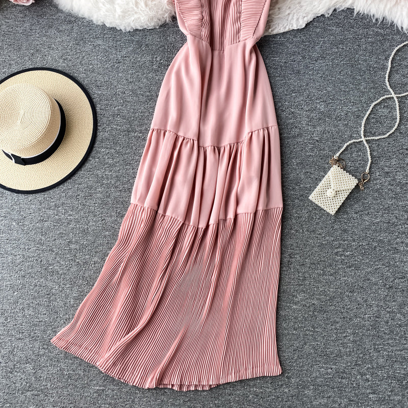 (Pre-Order) Square Collar Pleated Ruffles Maxi Dress in Pink