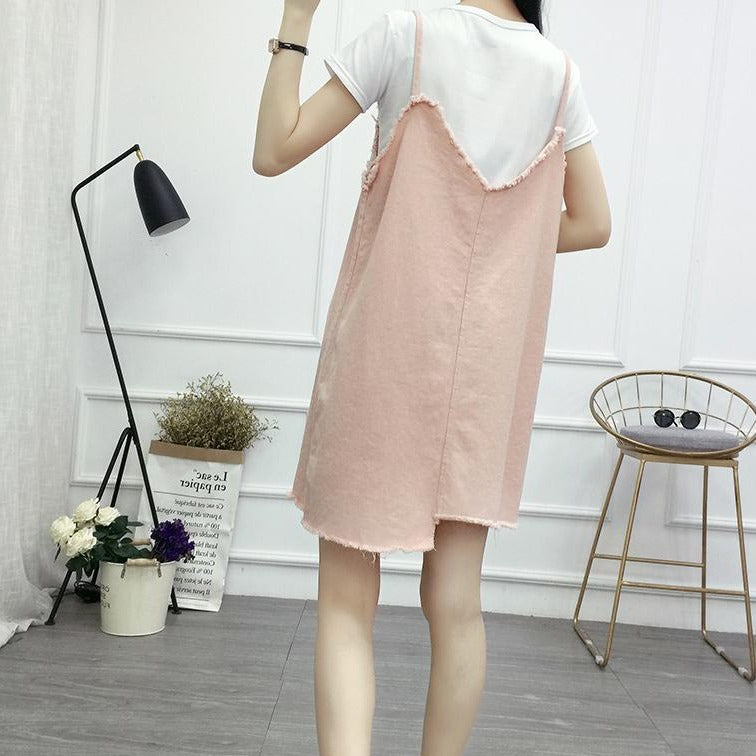 (Pre-Order) Asymmetrical V Denim Spag Pinafore in Pink