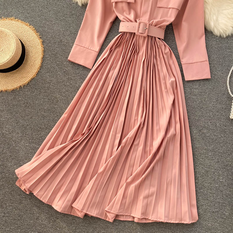 (Pre-Order) Round Neck Pleated Long Sleeve Belt Dress in Pink