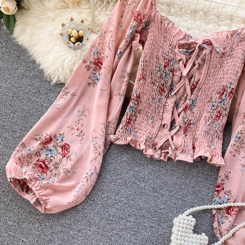 (Pre-Order) Floral Lace-Up Smocked Balloon Sleeve Cropped Top in Pink