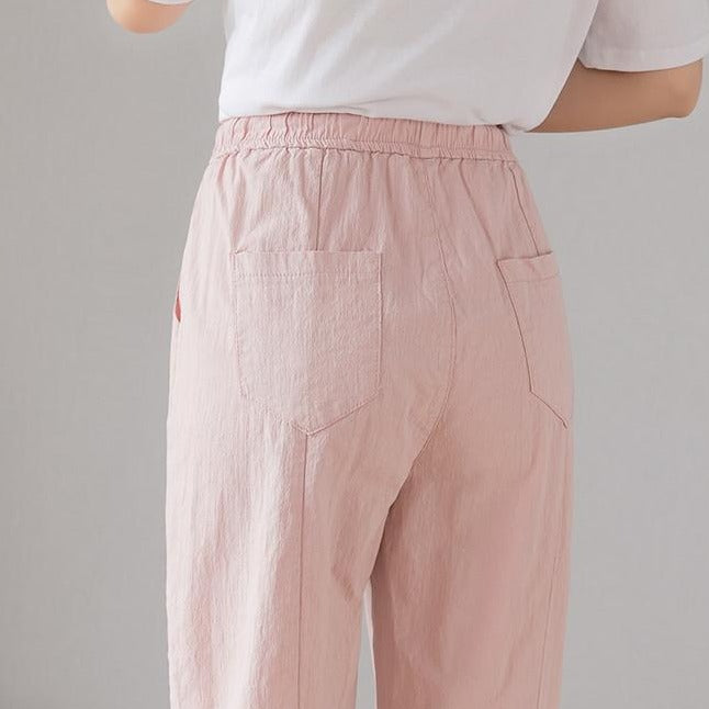 (Pre-Order) High Waist Drawstring Cropped Pants in Pink