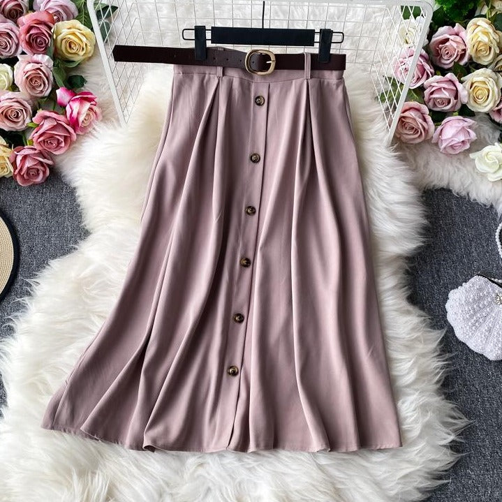 (Pre-Order) High Waist Buttons A-Line Midi Skirt in Pink