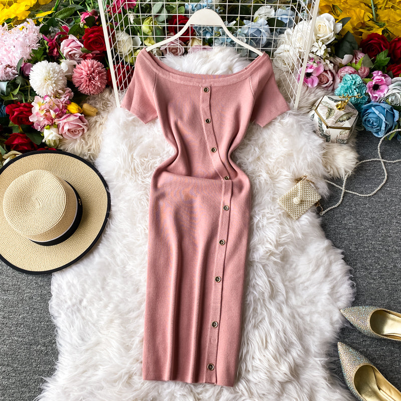 (Pre-Order) Off-Shoulder Button Up Bodycon Midi Dress in Pink