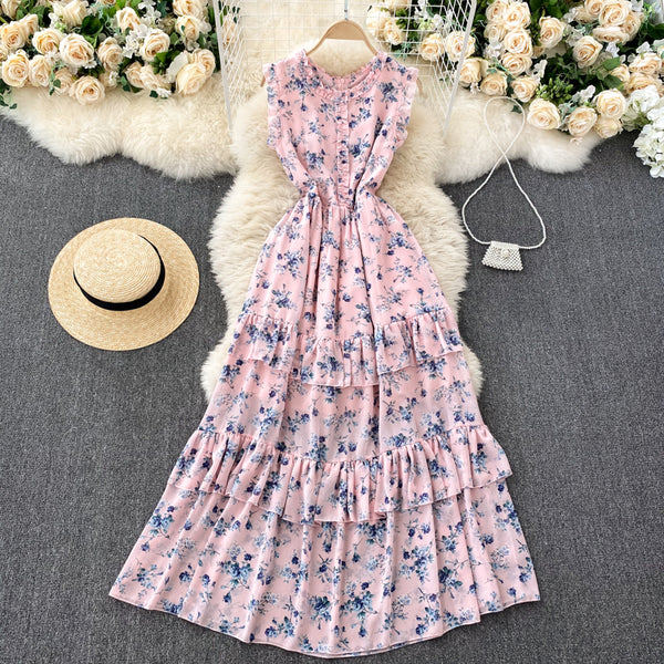 (Pre-Order) Floral Sleeveless Round Neck Layered Maxi Dress in Pink