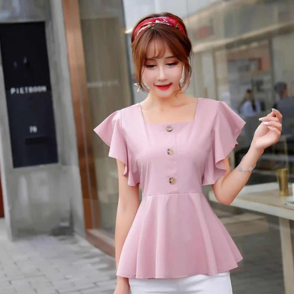 (Pre-Order) Square Ruffles Sleeve Top in Pink