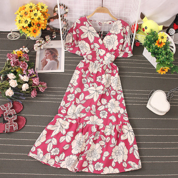 (Pre-Order) Floral V-Neck Trumpet Sleeve Maxi Dress in Pink