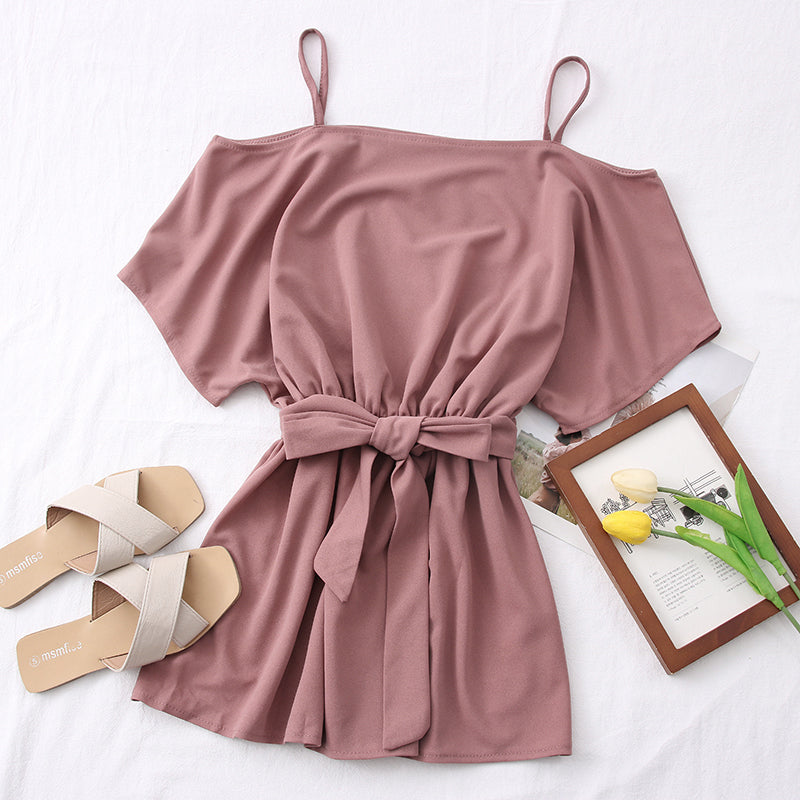 (Pre-Order) Ribbon Tie Cold-Shoulder Mini Dress in Pink