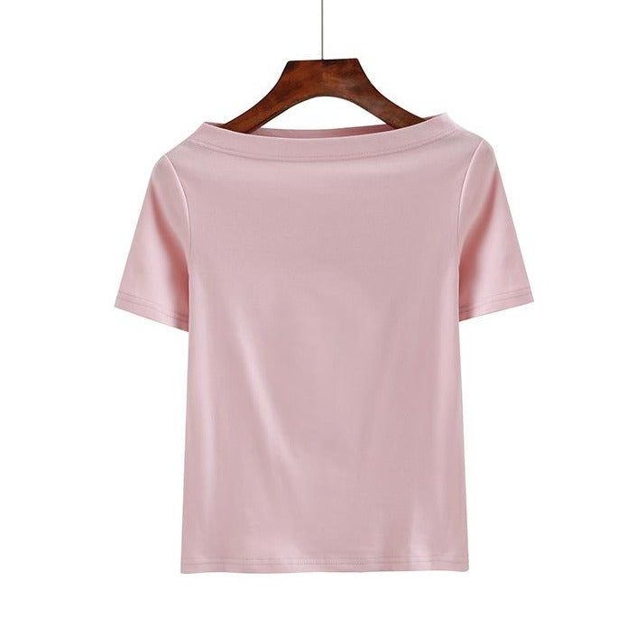 (Pre-Order) Basic Sleeve Off-shoulder Top in Pink