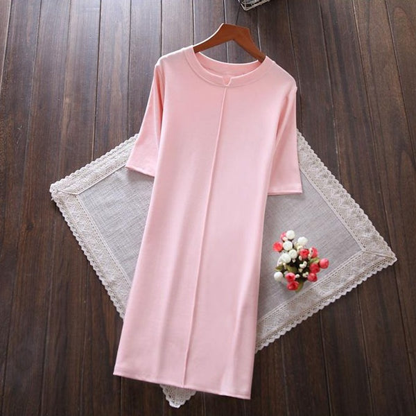 (Pre-Order) Quarter Sleeve Collar Cut-Out Tee Dress in Pink