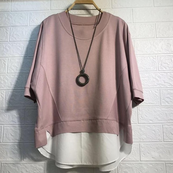 (Pre-Order) Mock 2 Piece Contrast Loose Fit Top in Pink