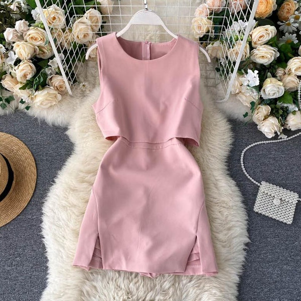 (Pre-Order) High Waist Front Cut-Out Romper in Pink