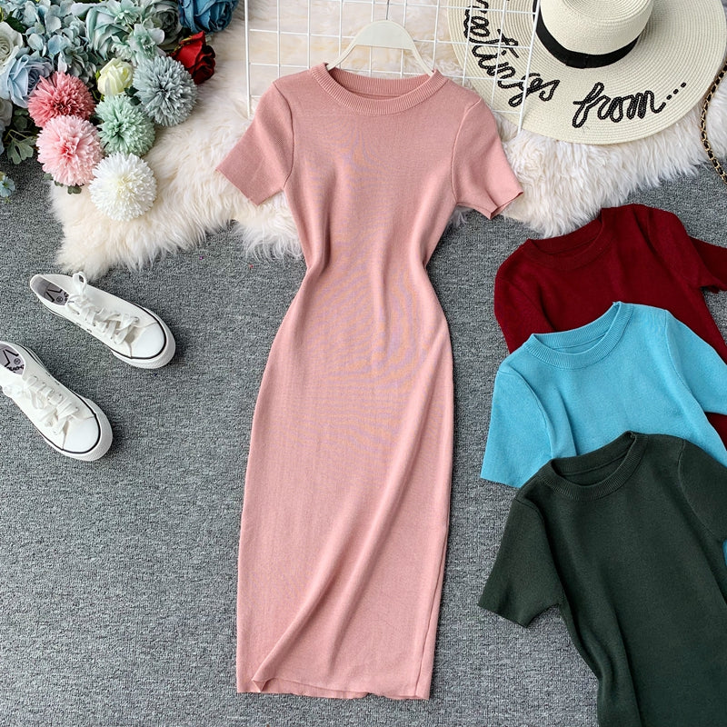 (Pre-Order) Round Neck Knit Sleeve Bodycon Midi Dress in Pink