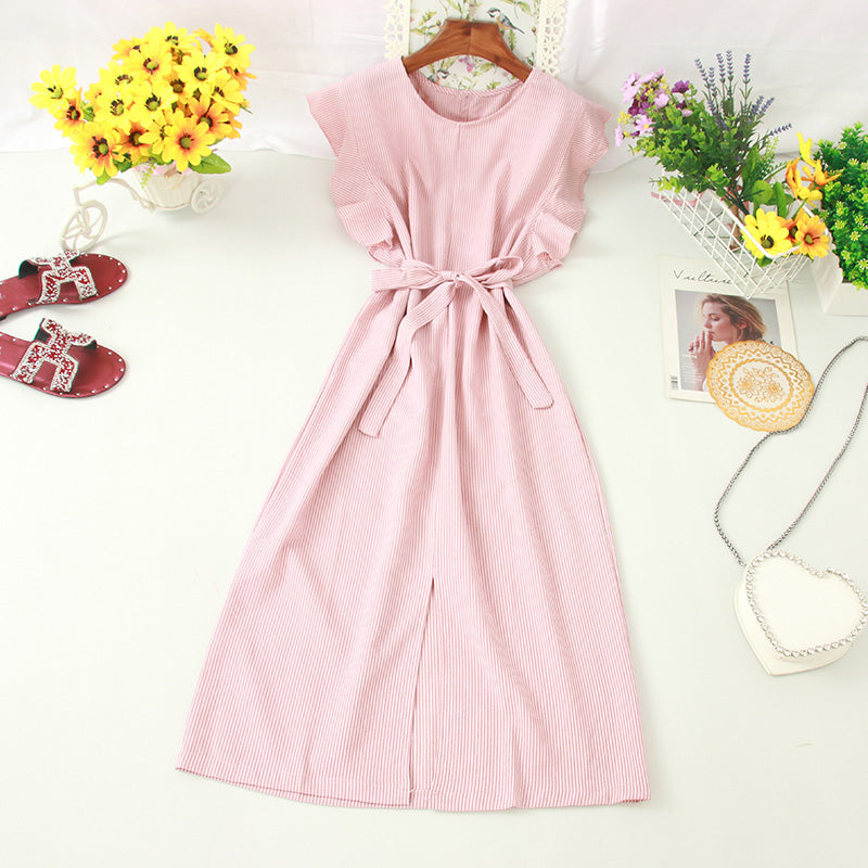 (Pre-Order) Pinstripes Ruffles Sleeve Front Slit Loose Fit Midi Dress in Pink
