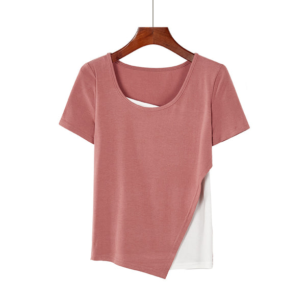 (Pre-Order) Basic Mock 2 Piece Asymmetrical Top in Pink