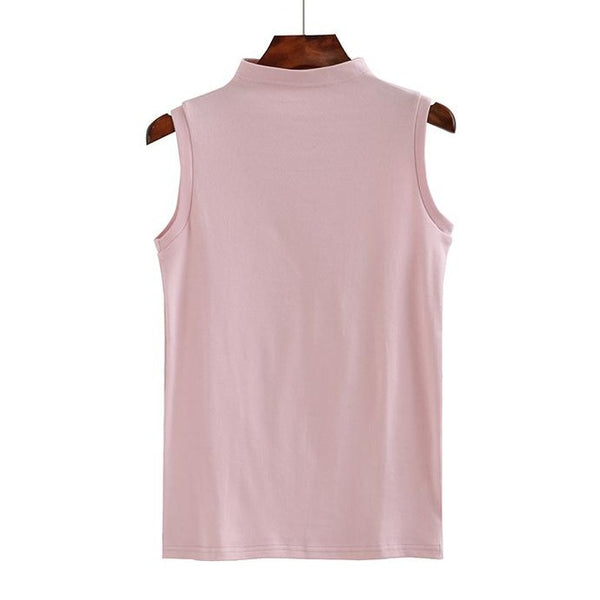 (Pre-Order) Mid-High Neck Sleeveless Top in Pink