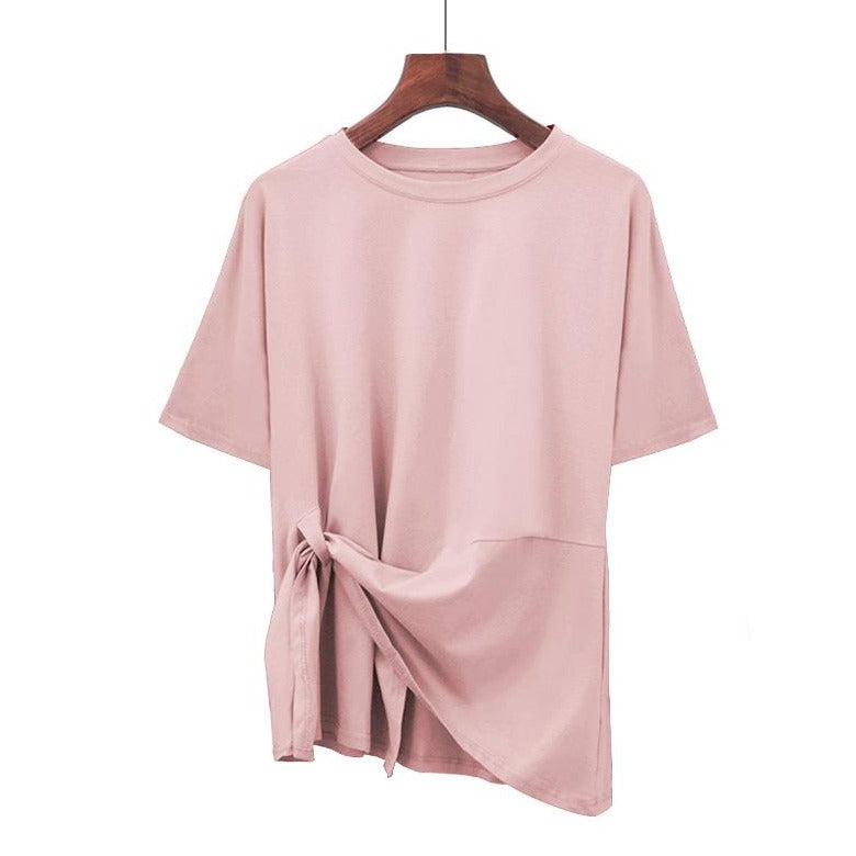 (Pre-Order) Sleeve Asymmetrical Side Tie Top in Pink