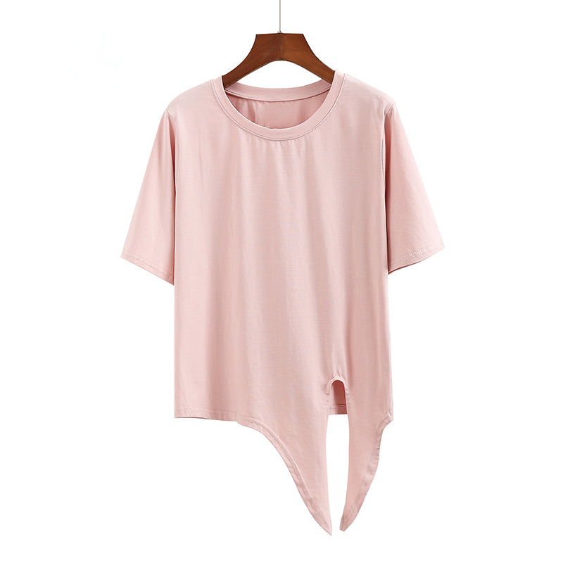 (Pre-Order) Sleeve Round Neck Side Knot Cropped Top in Pink