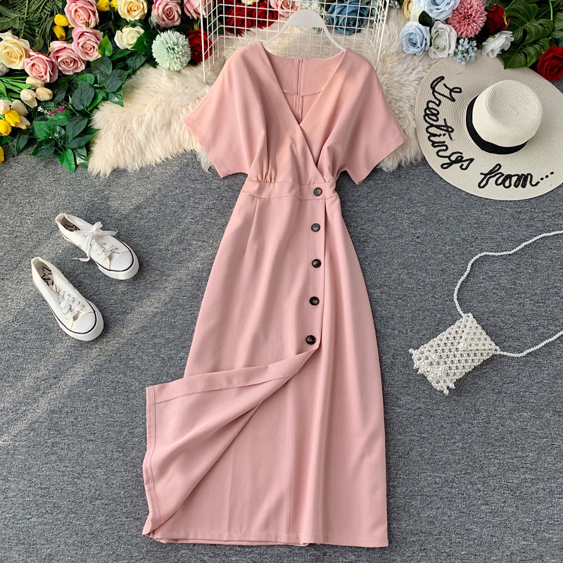 (Pre-Order) Bat Wing V Neck Side Button Midi Dress in Pink