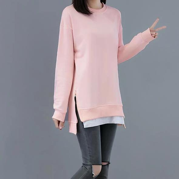 (Pre-Order) Side Zip Long Sleeve Loose Fit Patch Top In Pink