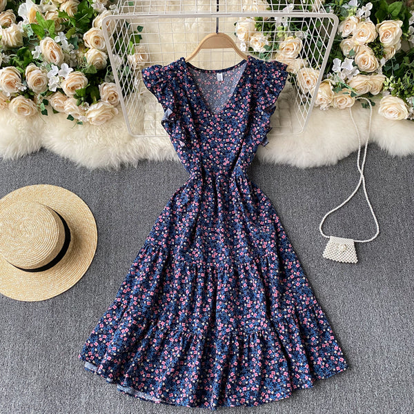 (Pre-Order) Floral V Neck Ruffles Sleeve Gypsy Midi Dress in Purple