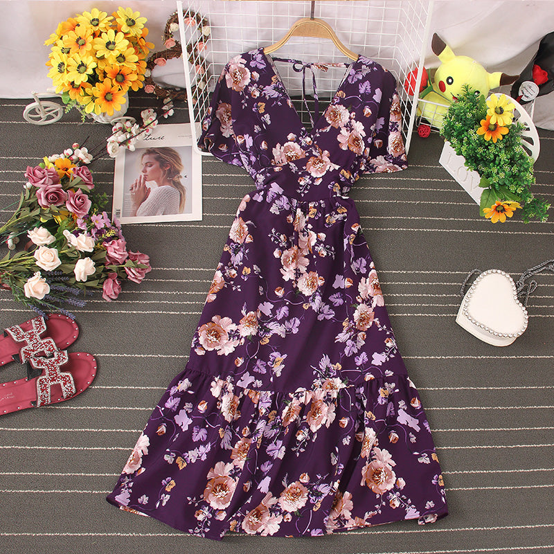 (Pre-Order) Floral V-Neck Trumpet Sleeve Maxi Dress in Purple