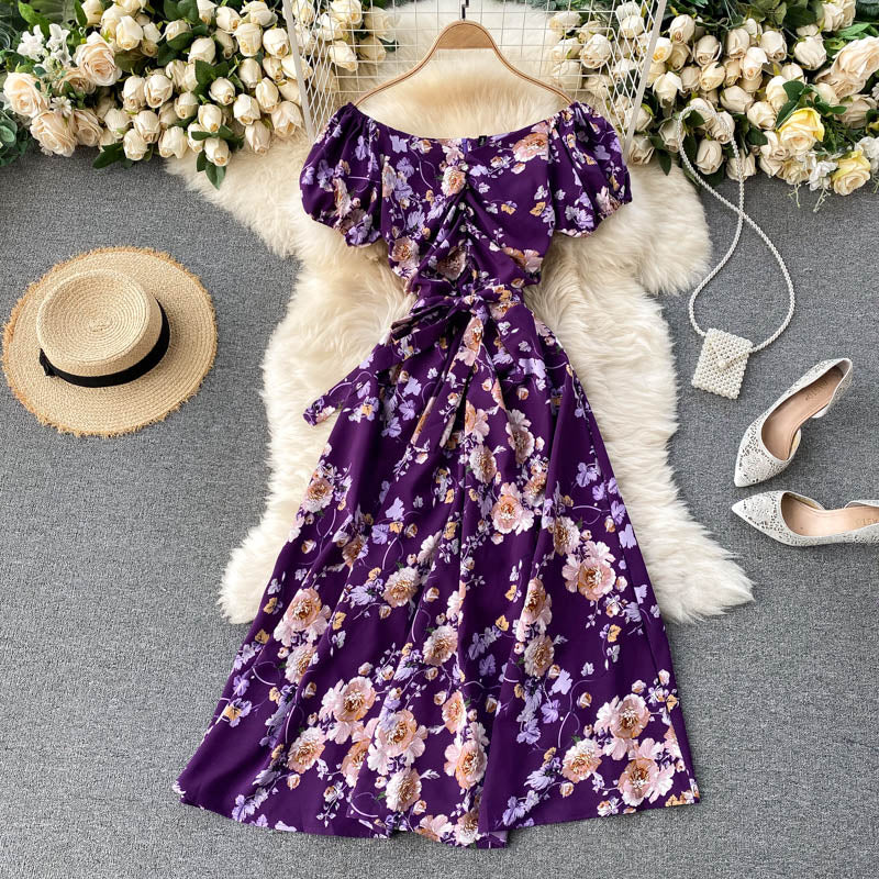 (Pre-Order) Floral Off-Shoulder Gathered Balloon Sleeve Midi Dress in Purple